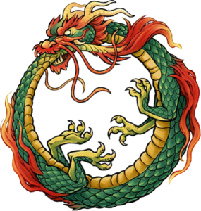 The infinity symbol, Ouroboros, the snake eating its tail is depicted in this picture.