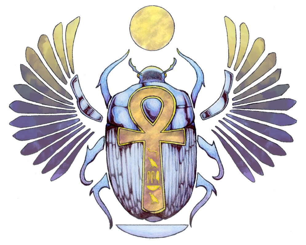 Egyptian symbols and their meanings mythologian however that was because they confused the eggs laid and buried in sand by female scarab beetles with the rolls made as the food source buycottarizona Images